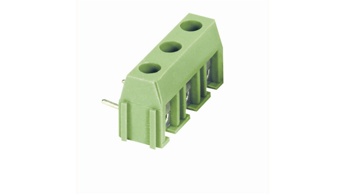 Logo PCB connectors with wire protection.