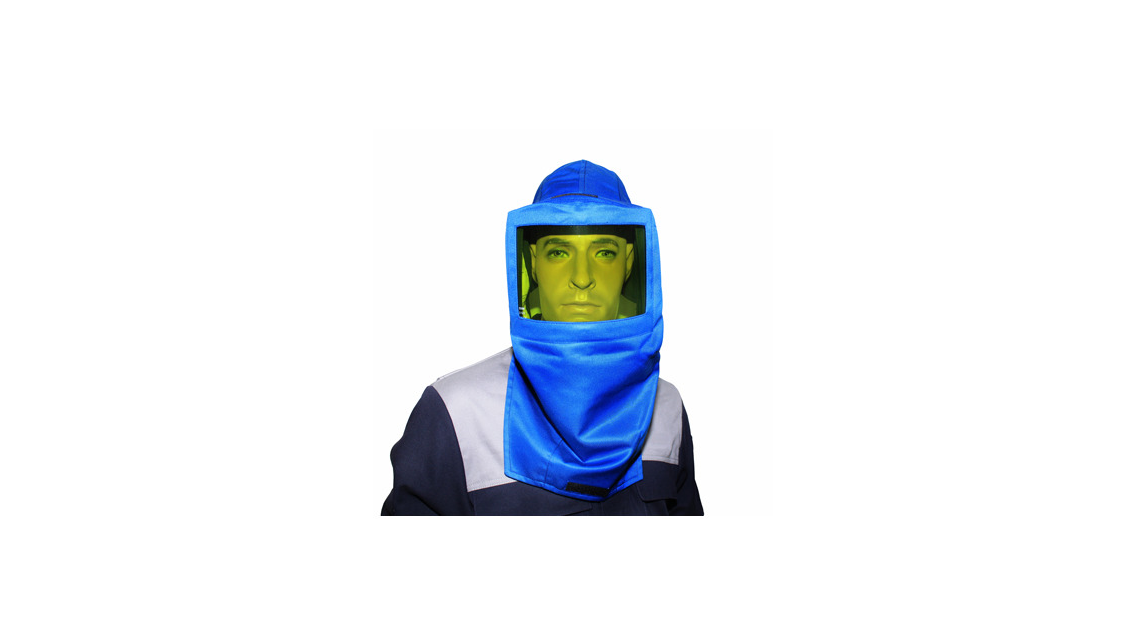 Logo Electrician protective face screen w/hood & ear protection;