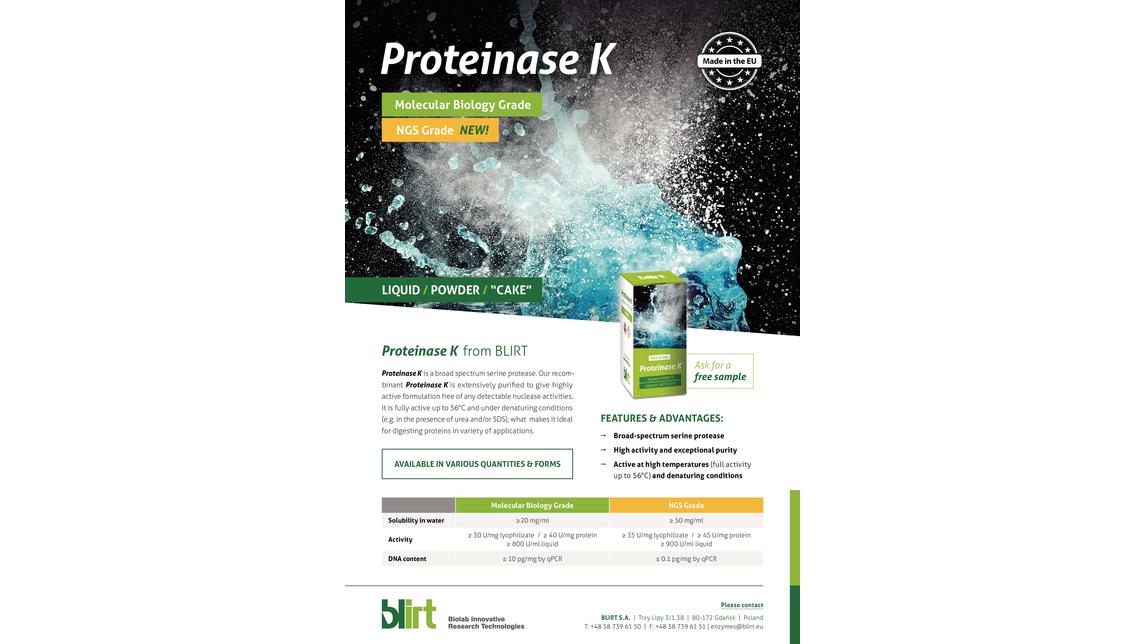 Logo PROTEINASE K Molecular Biology Grade